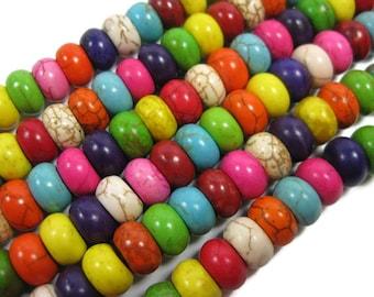 Multi couleur Howlite 10 mm Rondelle, perles Abacus