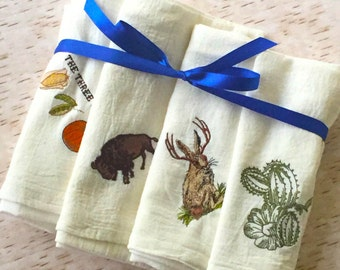 Flour Sack Towels - Native American Collection - Country Kitchen - Southwestern Decor - Embroidered- Rustic Decor -  Tea Towels - Towel Pack