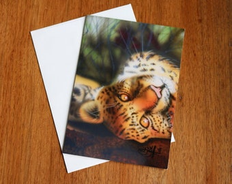"Note Card Clouded Leopard Print with Envelope 5"" x 7"" Original Art by Teresa Griffin"