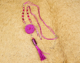 141-60 Kemiot necklace bohemian style pink color