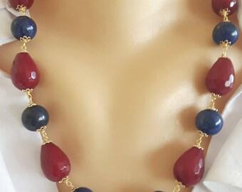 Lapis lazuli necklace, garnet jade drops necklace, silver necklace