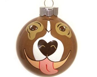 Pit Bull Christmas Ornament READY TO SHIP Hand Painted Glass Bauble Pitbull Art Pitbull Mom Pet Portrait Pet Gift Pet Loss Pet Memorial