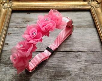Pink Flower dog collar, Wedding dog collar, Engagement dog collar, Save the date dog collar, Medium