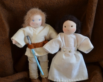 Luke and Leia dolls, star wars waldorf dolls
