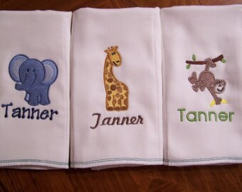 Personalized Monogrammed Boutique Burp Cloth   SET OF 3