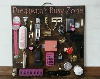 Ultimate busy board *stained girl style* personalized-toddler busy board-everything included - stained backround-pink added girly work zone