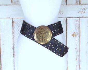 Vintage wide black studded medallion leather bohemian gypsy Indian belt/gold/bronze metal medallion festival hippie belt