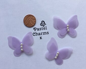Pack of 3 pretty fabric butterfly embellishments lilac