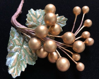 Vintage Gold Millinery Berry Cluster - Antique Gold Grapes