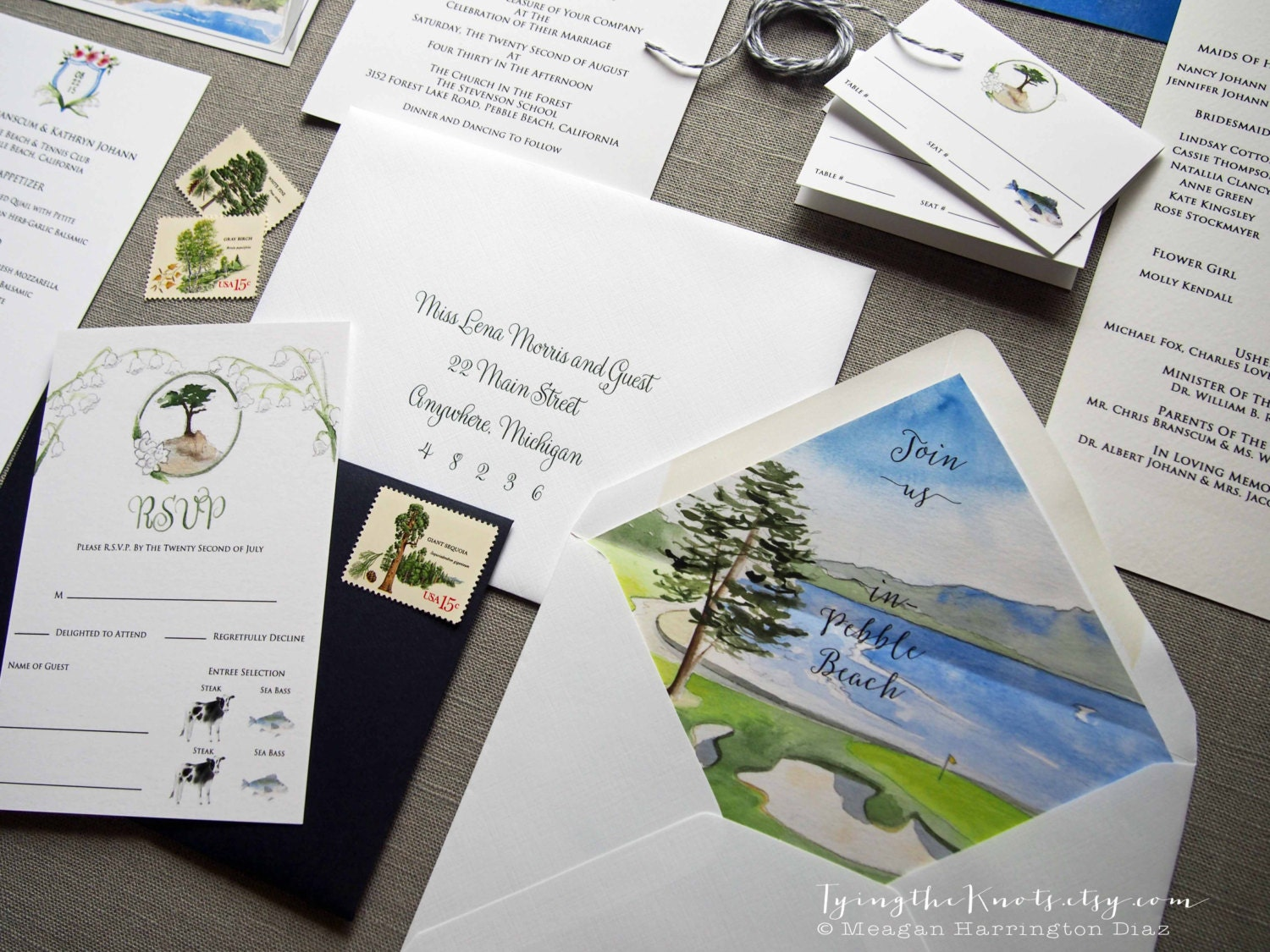 Custom Wedding Invitations Watercolor Wedding Suite Pebble