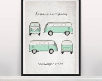 Hippie Camping Volkswagen Type 2 Poster