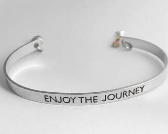 Retirement gift - Enjoy the journey - steel bracelet with silver plated charms - See ALL photos!!