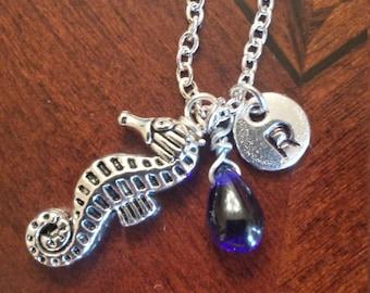 Birthstone September Sapphire necklace seahorse Sapphire September birthstone Sapphire seahorse birthstone necklace Sapphire birthstone