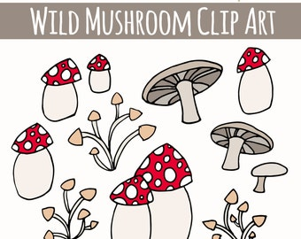 CLIP ART: Cute Wild Mushrooms // Photoshop Brushes // Hand Drawn Elements // Mushrooms Forest Autumn // Vector Files // Commercial Use
