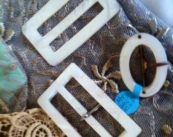 Ornate Antique Buckles - Mother of Pearl - Downton Abbey - Edwardian Era - Sash Buckles - Wedding Notions - Renaissance - Shoe Accessories