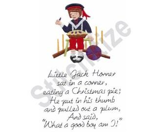 Little Jack Horner - Machine Embroidery Design, Nursery Rhyme