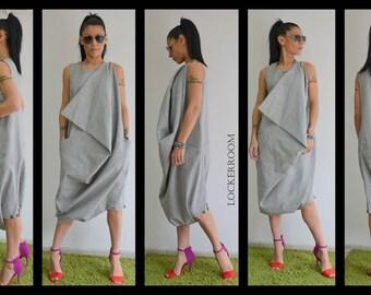 Linen jumpsuit, Linen Dress, Harem Jumpsuit, Grey Jumpsuit, Grey Dress, Womens Jumpsuit, Maxi Dress, Plus Size Jumpsuit, Jumpsuit Linen