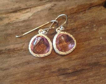 Crystal Pink Earrings, Crystal Drop Earrings, Sterling Silver, Hypoallergetic Earrings, Pink Crystal Glass Earrings, Gift Earrings