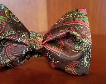 Mr. Spot On -  Brown, Red, and Green Designer Freestyle BowTieByEDJ