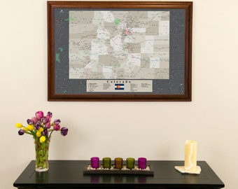 """Colorado Earth Toned Push Pin Travel Map with Pins and Frame 24""""x36""""  - Push Pin Travel Map"""