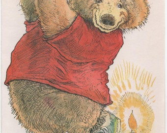 Bear Golfing from Tee on Birthday Cake, Cute Birthday Card, Used, c1980s, good shape