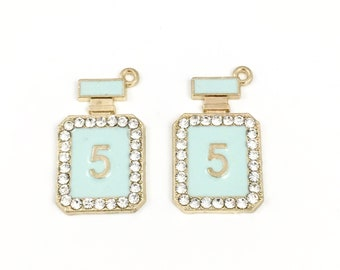 2 perfume bottle charms  gold tone and enamel,17mm to 29mm  #CH 560