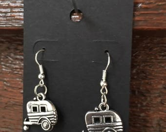 Vintage Caravan Vintage Trailer earrings bling silver plated hook