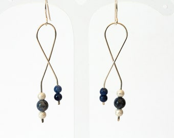 Minimalist long earrings/ sodalite 925 sterling silver earrings/ gemstone drop earrings/  modern wire earrings/ gift women/ handmade jewelry