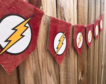 The flash banner , superhero banner,the flash burlap banner, superhero, red burlap