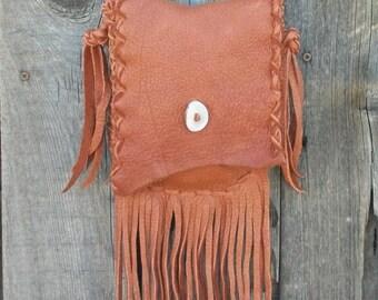 Fringed leather purse ,  Handmade leather handbag , Small shoulder bag , Soft leather bag