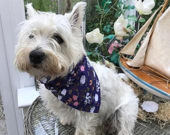 Pretty farmyard print navy dog bandana