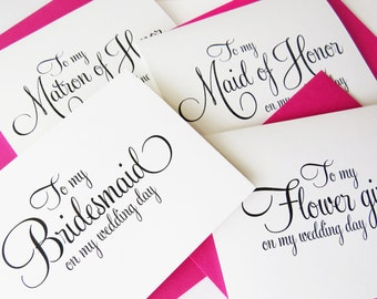 Bridal Party Thank you Cards, To My Maid of Honor Card, To My Bridesmaid, Matron of Honor, Wedding Party Thank You Cards (Set of 5) WFS02