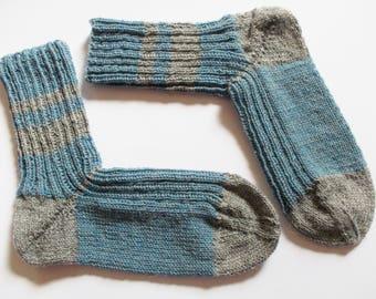 hand-knitted socks, Gr. 40/41 (EU), blue - gray
