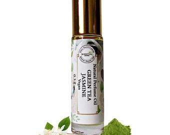 Organic green Tea & Jasmine Perfume Oil, Vegan Perfume, Floral Perfume, Gifts Idea