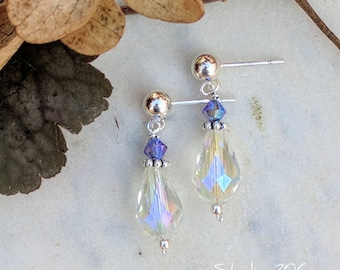 Iridescent purple drop earrings
