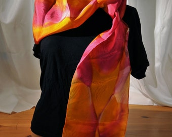 "Hand-Painted 100% Silk Scarf. Orange Red Pink Gold. Size 8x72"" 2012 Closeout"