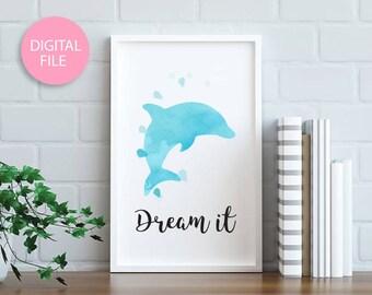 Dolphin watercolor, Dolphin art, Watercolor painting, Watercolor art, Home decor wall art, Dolphin art, Animal art