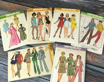 Vintage Sewing Patterns, 1970s Patterns, Simplicity Patterns, Vintage Patterns, Size 12, Ladies Size 14, Pattern Lot, 1970s, Simplicity