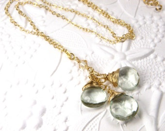 Green Amethyst Y Drop Necklace, Gold Filled, Light Mint Green Stone, Prasiolite Gemstone, Spring Jewelry, Handmade Jewelry Gift