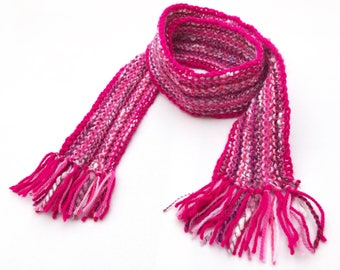 Giggling Pink Pixie Scarf - Bright Pink Scarf for Kids - Kid's Pink Striped Scarf very soft warm & textured - unisex pink scarf for children