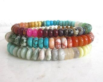 Multi gemstone stacking bracelet, rainbow stone bracelets, gemstone mix elastic bracelet, colorful stone bracelets, boho chic stone bracelet
