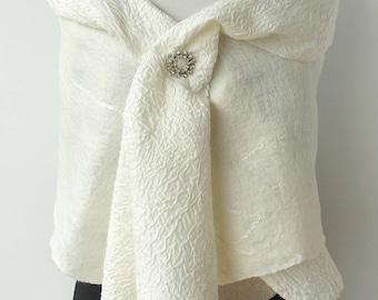 White Silk Bridal Shrug - Bridal Shawl - Brides Coverup - Nuno Felt- Special Occasion