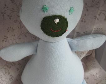 BLUE TEDDY BEAR fabric snowman-handmade