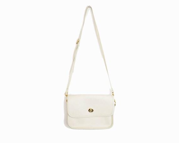 Vintage Ivory Leather Turnlock Purse / Crossbody Satchel Bag