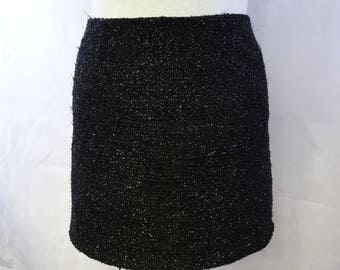 Black shiny pencil skirt