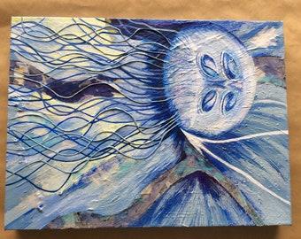 Original painting on canvas, Blue Jellyfish