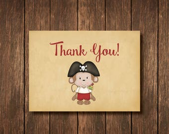 Pirate Monkey Theme Thank You Card - Instant Digital Download