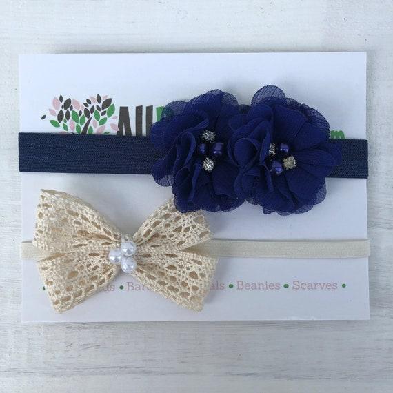 Beige Bow Baby Headband, Blue Infant Headbands, Flower Headband, Bow Headband, Blue Flower Headband, Beige Bow Headband, Infant Headband