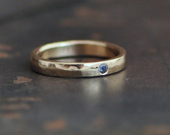 ring of gold, 14k gold ring band with flush set sapphire or your choice, engagement ring, stacking ring