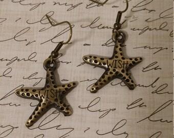"Wish Upon a Star, Brass Starfish ""Wish"" earrings"